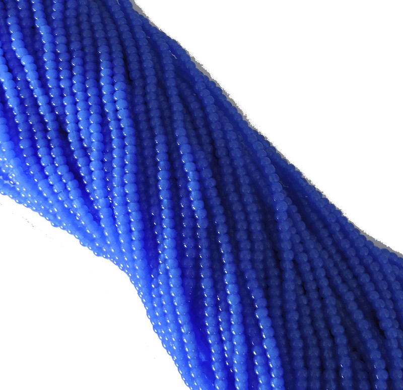 Blue Alabaster Czech 8/0 Glass Seed Beads 12 Strand Hank Preciosa