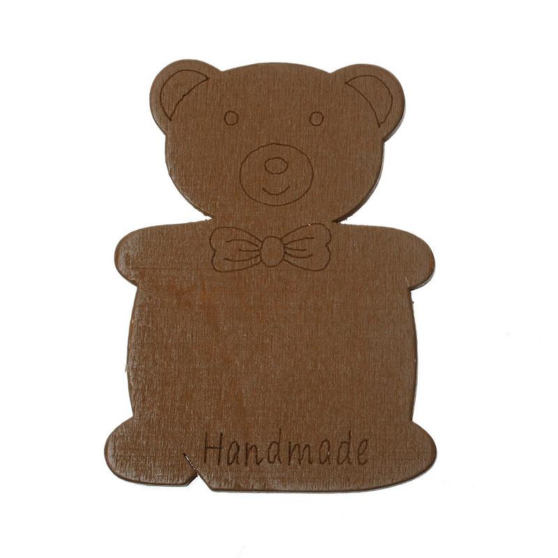 10 Wood Floss Bobbin Teddy Bear Thread Cards