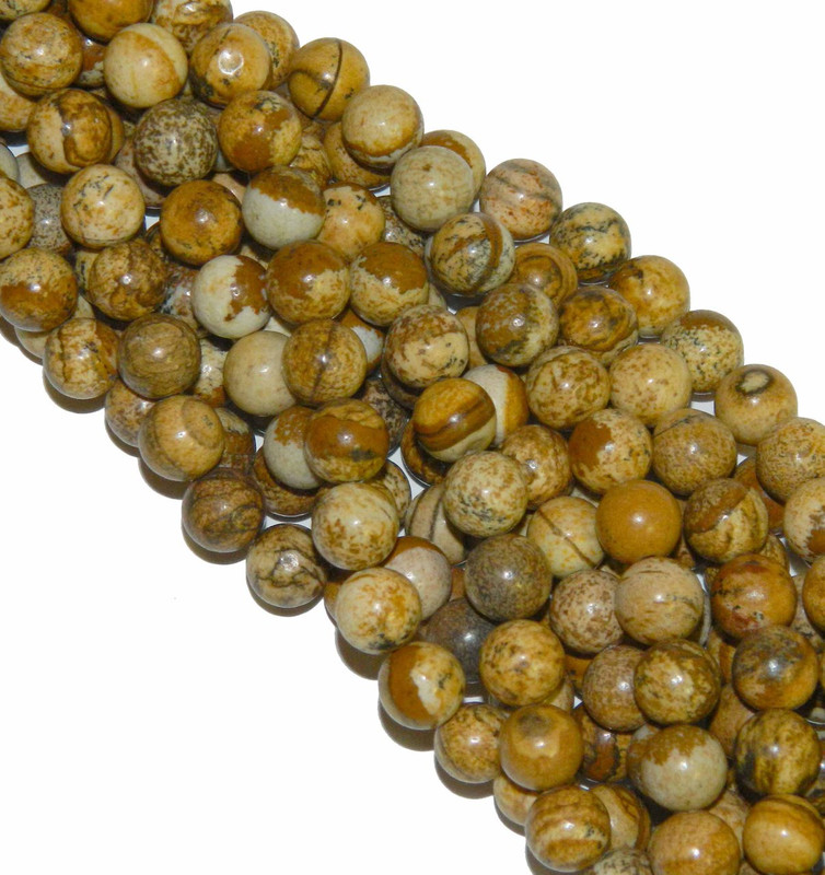 "12mm Picture Jasper Round Beads 40cm 15"" Gemstone"