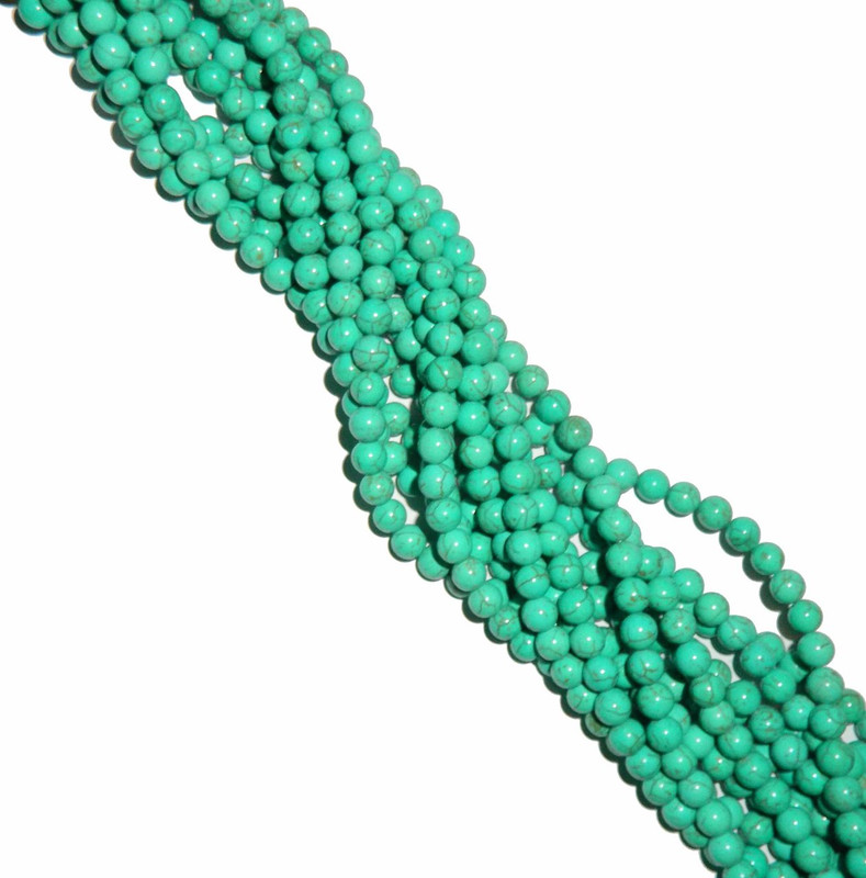 8mm Round Blue Dyed Howlite/Turquoise Green Gemstone Beads 15 Inches Beads