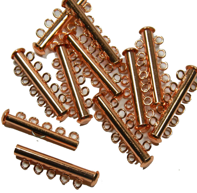 10 Pack Multi 5 Strand Slide Lock Clasps Copper Plated Brass CLSP22CP
