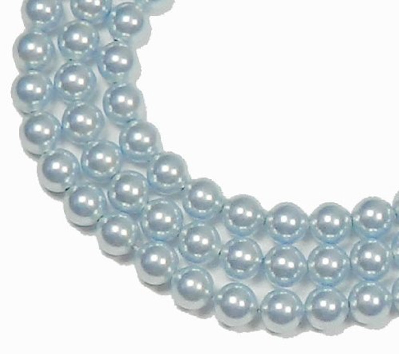 "100 Swarovski Crystal Pearls 4mm Round Beads 5810. 16"" Loose Strand Light Blue 581004BLLT"