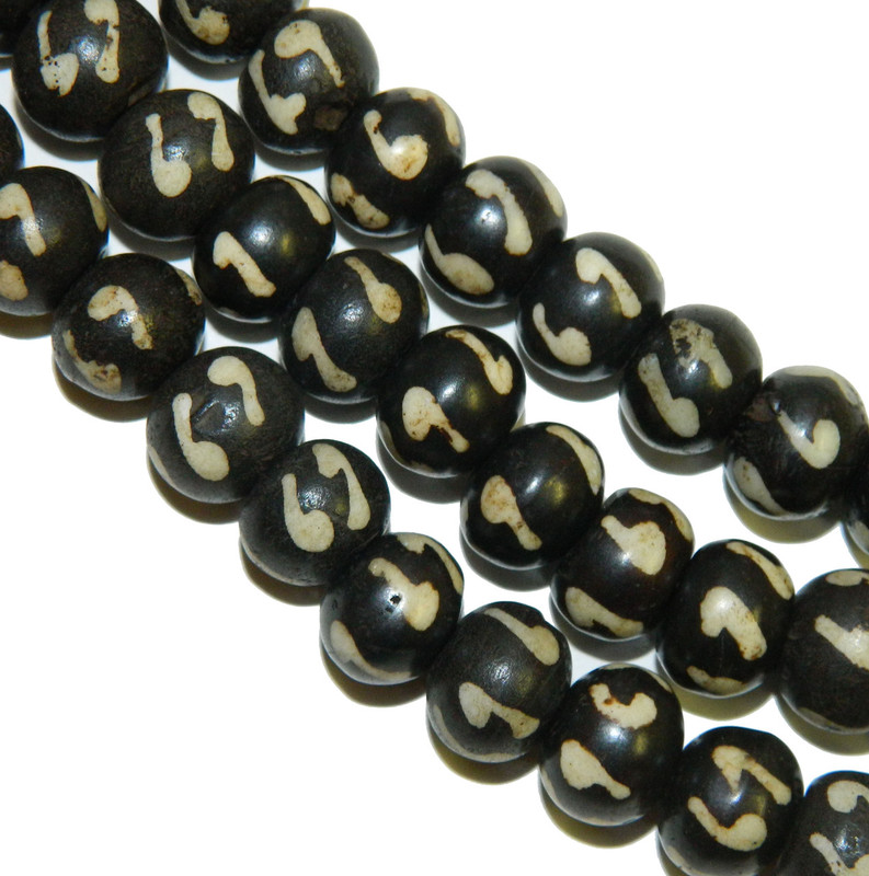 """12mm Rondelle Hand Painted Genuine Natural Bone Beads Aprx 8"""" Loose Strand"""