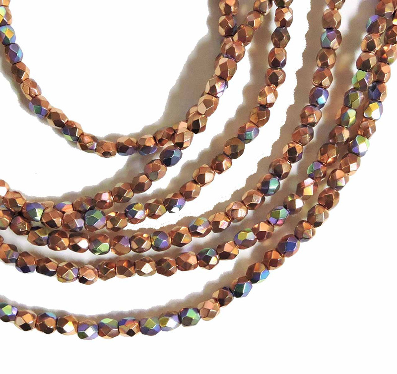 Copper Plate AB 3mm Faceted Firepolish Czech Glass 48 beads 6-FPR0300030-CPAB