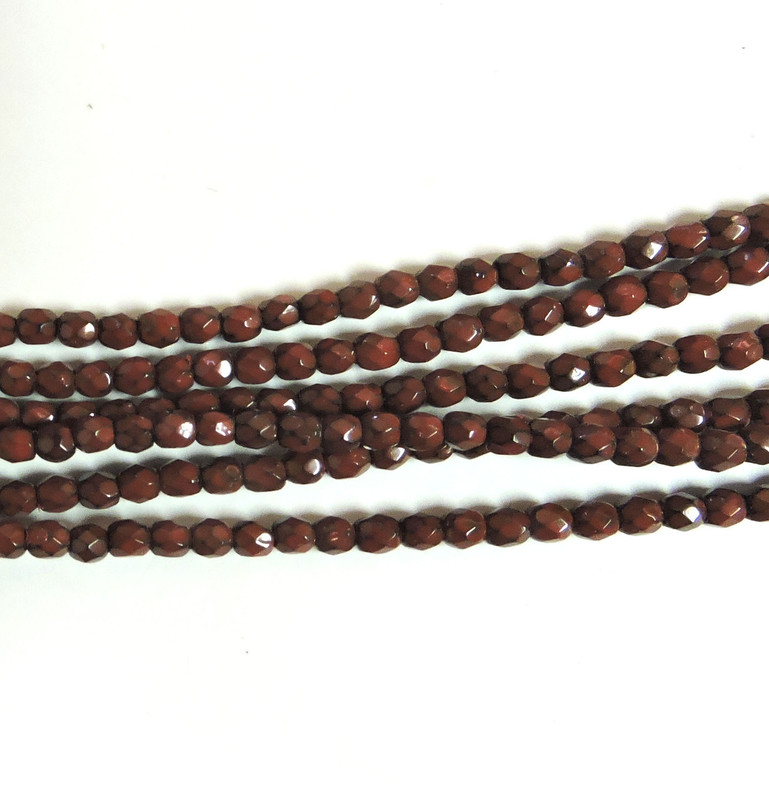 Dark Coral 3mm Snake Skin Faceted Firepolish Czech Glass 48 beads