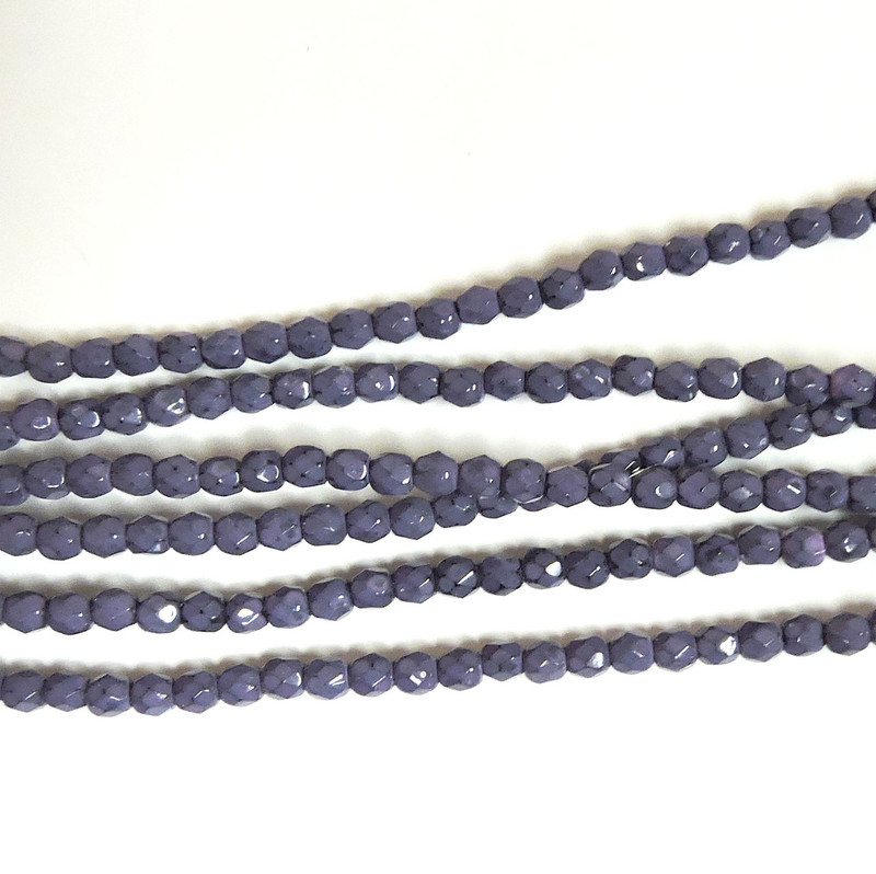 Dark Orchid 3mm Snake Skin Faceted Firepolish Czech Glass 48 beads