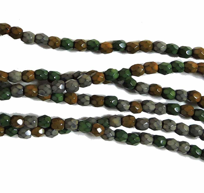 Earthy Mix 3mm Faceted Firepolish Czech Glass 48 beads 6-FPR03MIX62