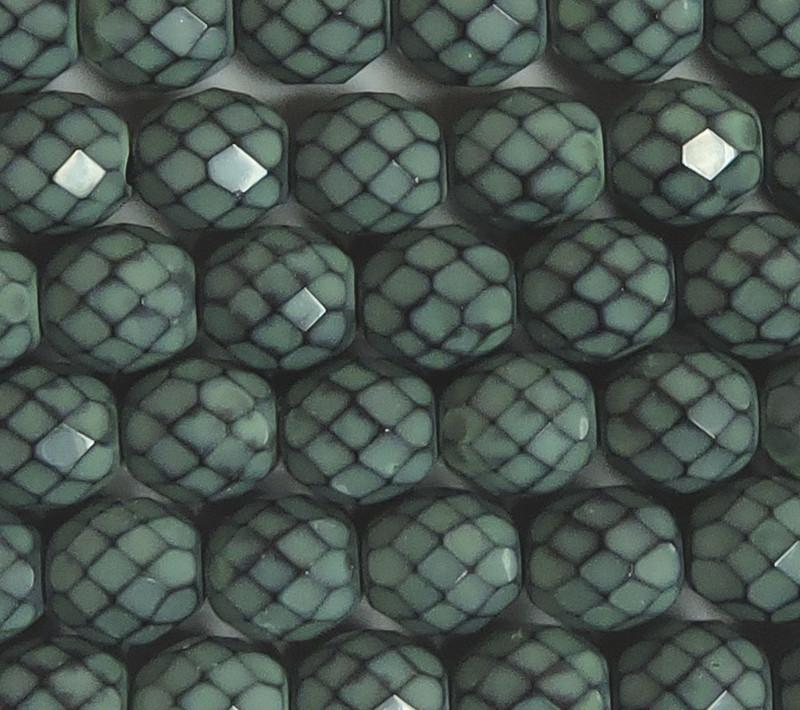 "Hemlock Snake 15 Czech 10mm Faceted Round Firepolished Glass Beads 6"""