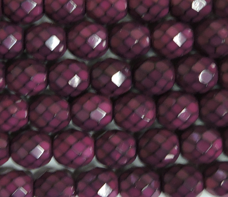 """Fuchsia Snake 15 Czech 10mm Faceted Round Firepolished Glass Beads 6"""""""