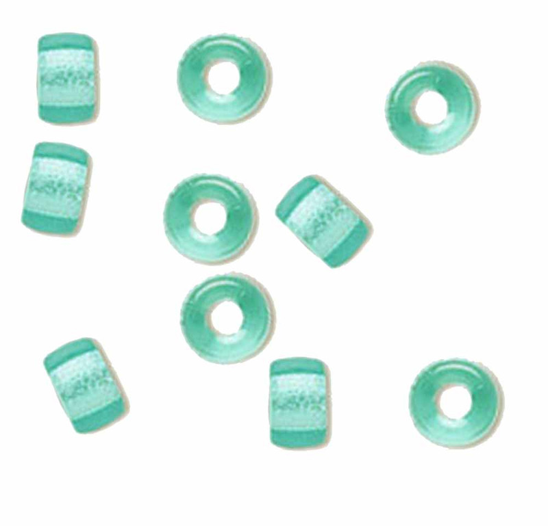 Light Aqua 10pc Czech Glass Macrame & Leather Crow Beads 9x4mm 3mm Hole H20-4217MD