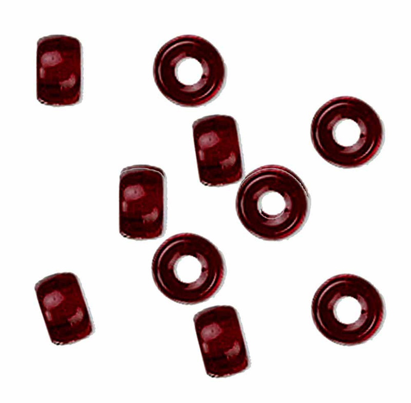 Garnet Red 10pc Czech Glass Macrame & Leather Crow Beads 9x4mm 3mm Hole H20-4204MD