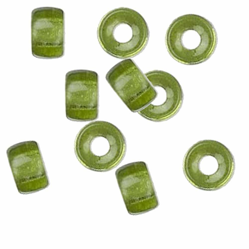 Olivine 10pc Czech Glass Macrame & Leather Crow Beads 9x4mm 3mm Hole H20-4216MD