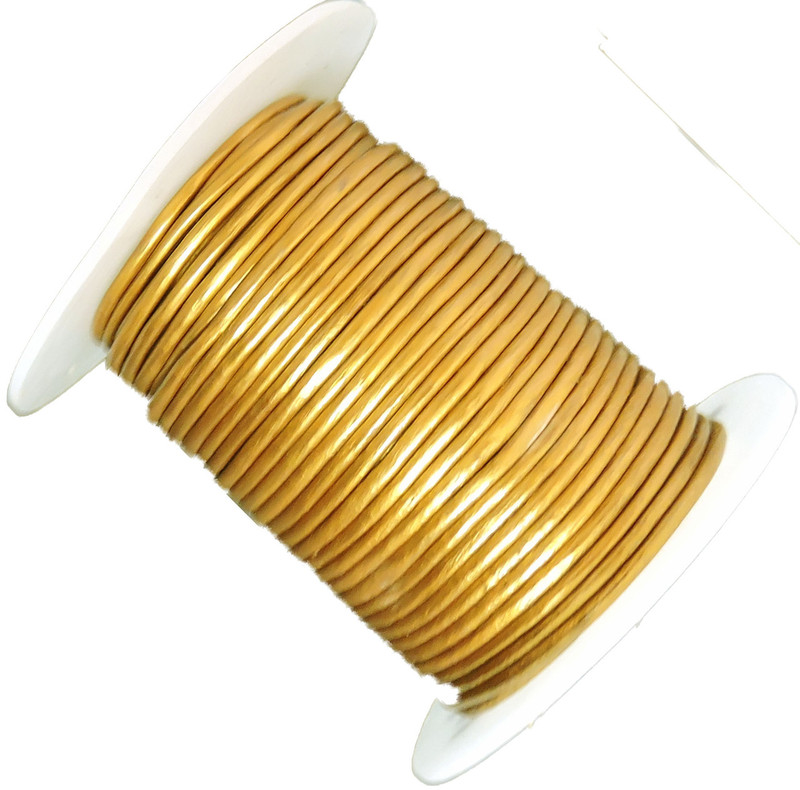 Gold 1.5mm Buffalo Leather Round Cord 25 Yards
