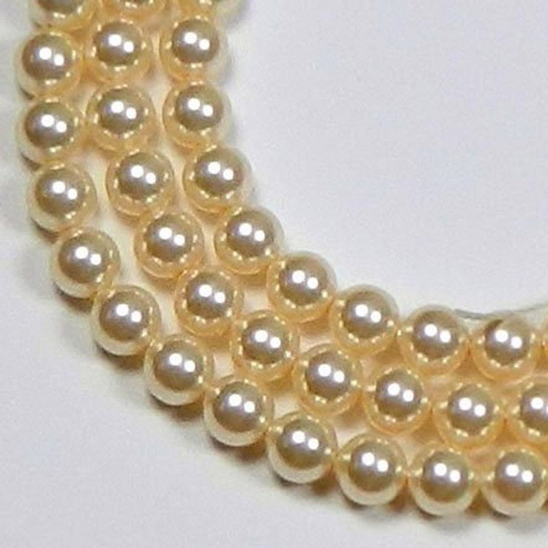 "100 Swarovski Crystal Pearls 4mm Round Beads 5810. 16"" Loose Strand Gold 581004GLD"