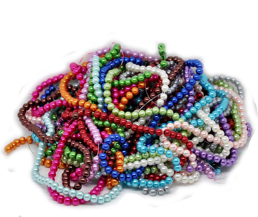 6mm Round 15 Strands 30 Inch Glass Pearl Beads Mixed Colors