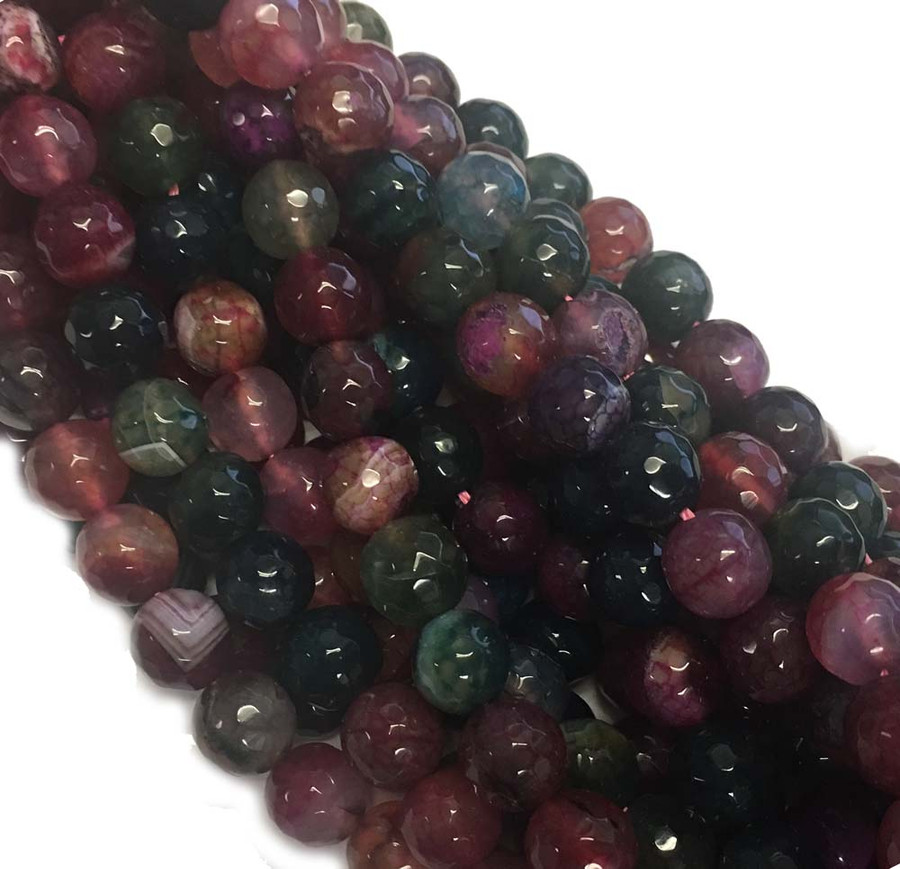 10mm Faceted Tourmaline Agate Gemstone Round Beads 15 Inch Loose