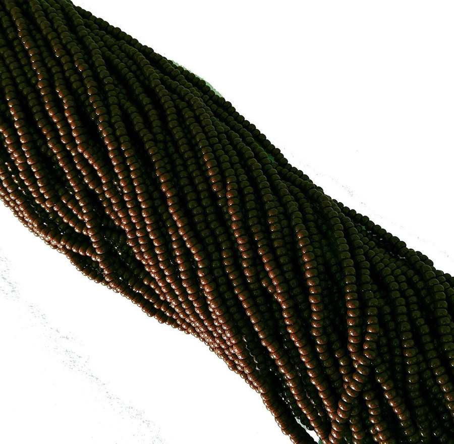 Redish Brown Opaque Czech 8/0 Glass Seed Beads 1 Full 12 Strand Hank Preciosa Jablonex