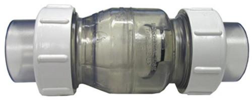 "FLO CONTROL | CLEAR PVC BODY WITH 1 1/2"" SLIP WHITE PVC UNIONS | 1720C-15"