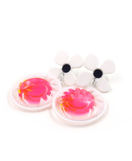 Galaxy Glow Air Pillow Earrings - Smiling Sun Spheres (003)