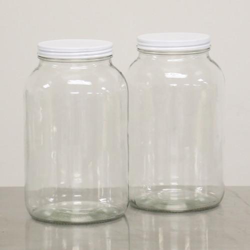 1 GAL GLASS STORAGE JAR, wide neck, clear, new
