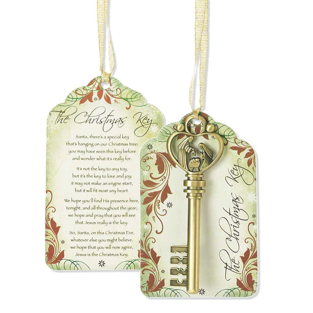 Antique brass finish metal christmas key ornament homebello