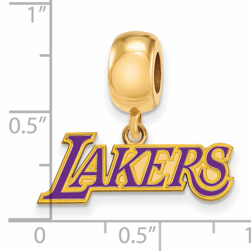 Los Angeles Lakers Bead Charm Small Dangle Gold-plated Silver GP032LAK Image Next to Ruler