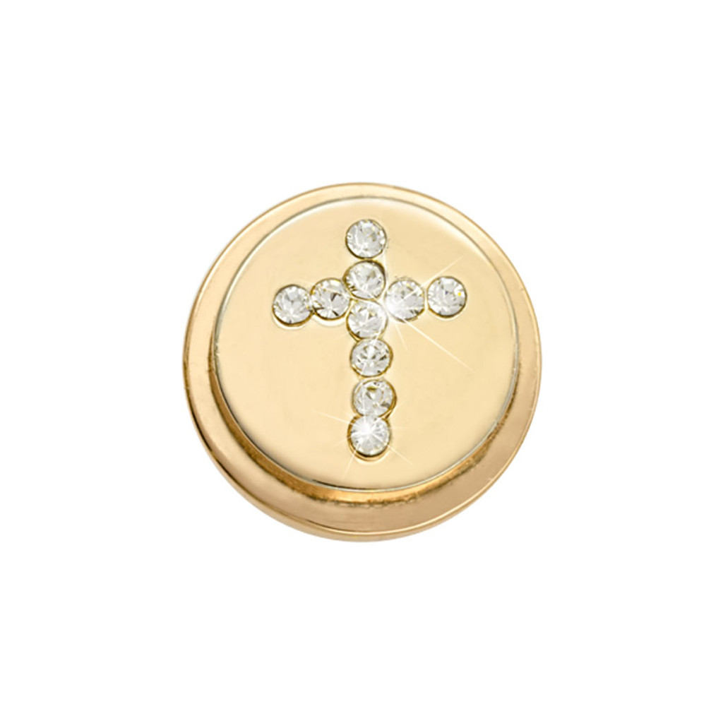 Nikki Lissoni Gold-Plated Sparkling Cross Coin That Fits S Rings MPN: RC2014G EAN: 8718819234203