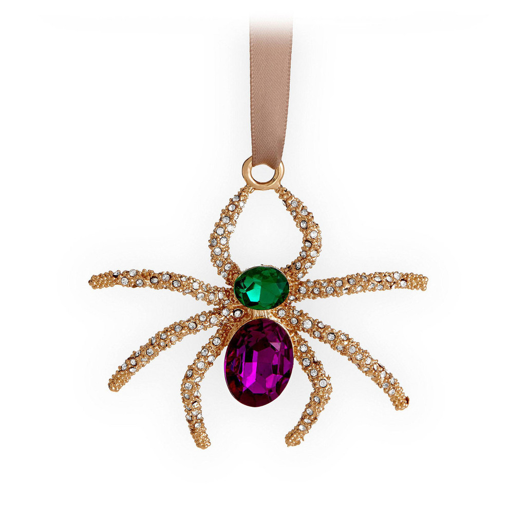 L'Objet Spider Ornament Gold White Green MPN: OR115