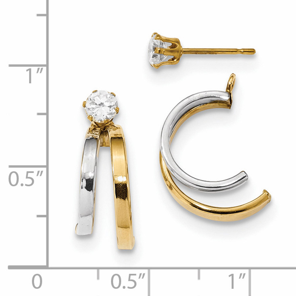 Double Hoop Earring Jackets with CZ Studs 14k Two-Tone Gold YE1819