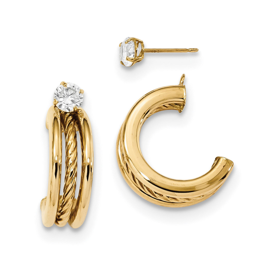 Triple Hoops with Rope Earring Jackets with CZ Studs 14k Gold Polished MPN: YE1820