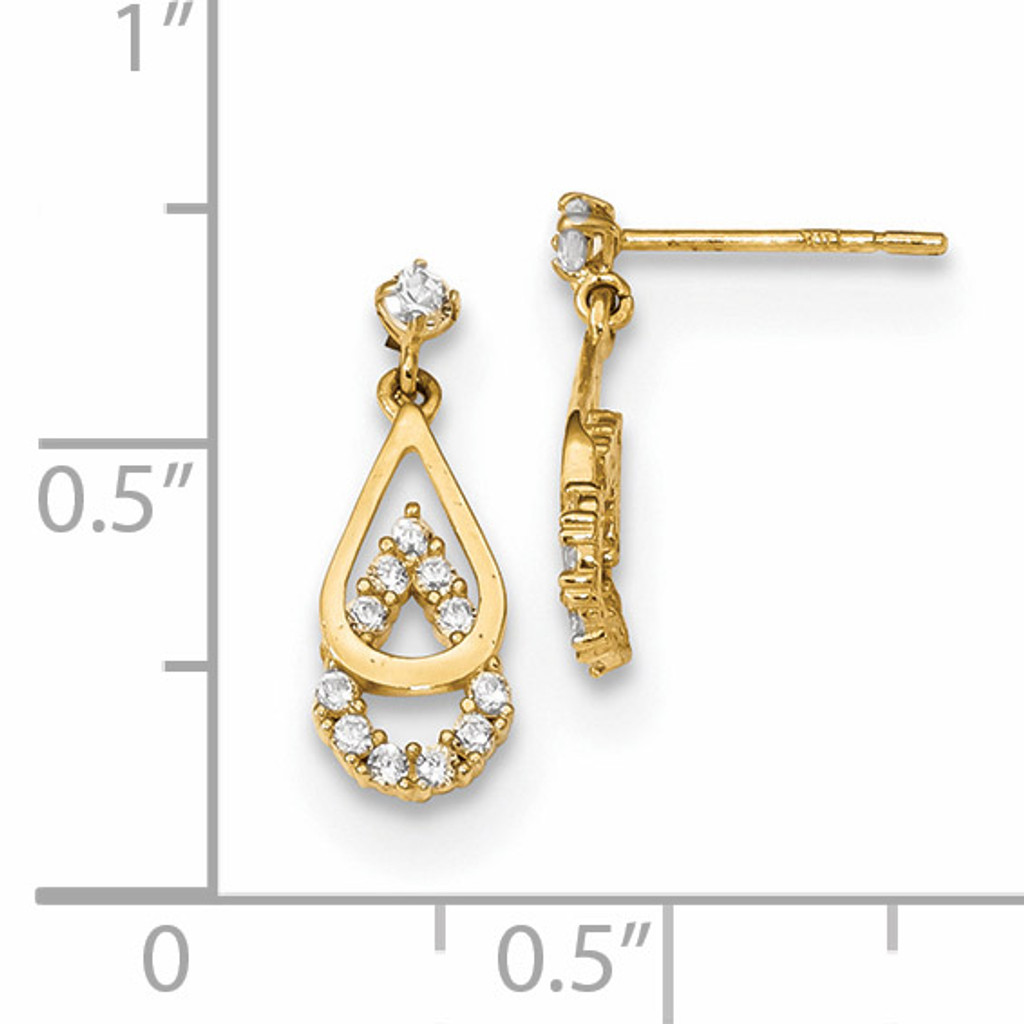 CZ Double Teardrop Dangle Post Earrings 14k Gold Polished YE1821