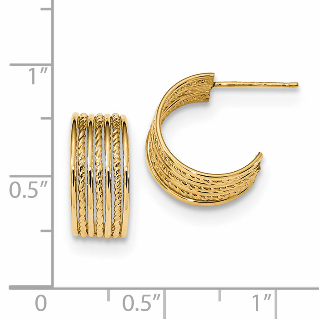 Textured Post Hoops Earrings 14k Gold Polished YE1822