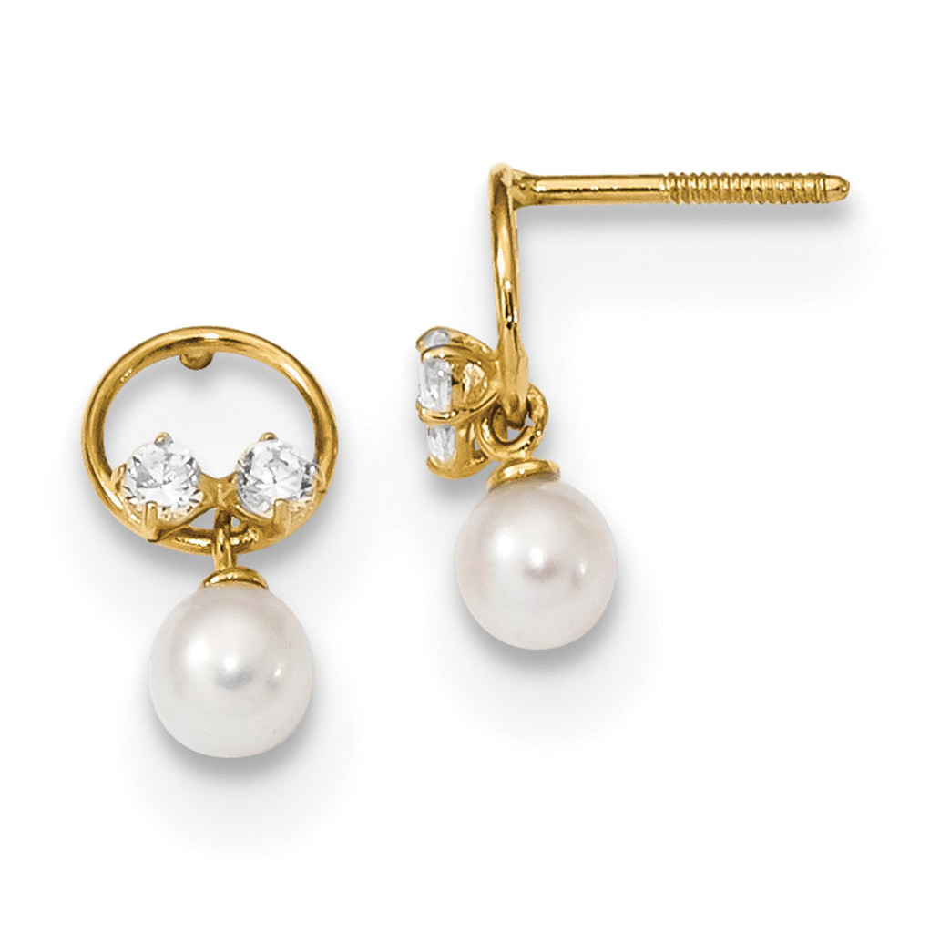 CZ & Freshwater Cultured Pearl Dangle Screwback Post Earring 14k Gold Polished MPN: YE1823