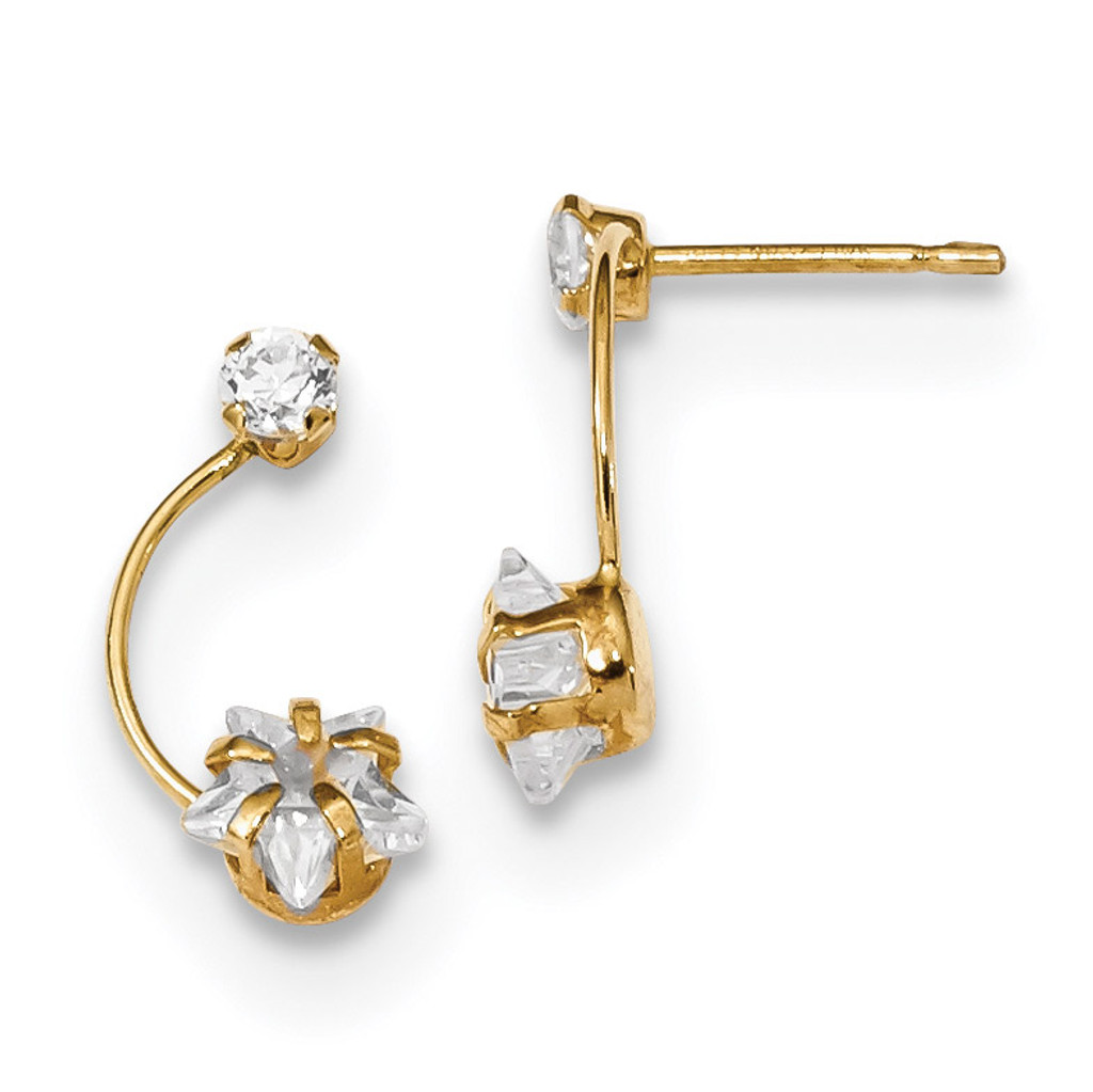 CZ Shoot Star Post Earrings 14k Gold Polished MPN: YE1824