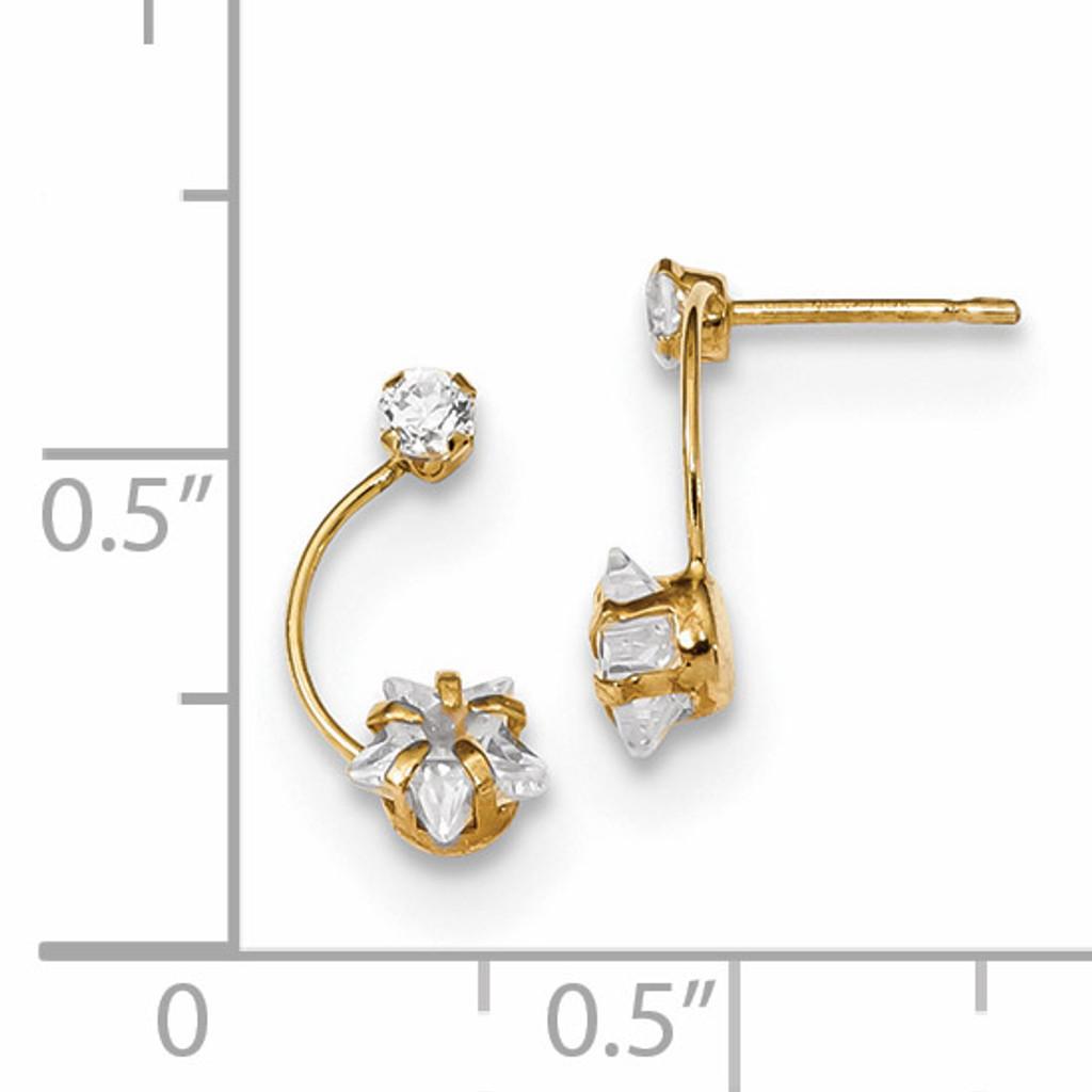 CZ Shoot Star Post Earrings 14k Gold Polished YE1824
