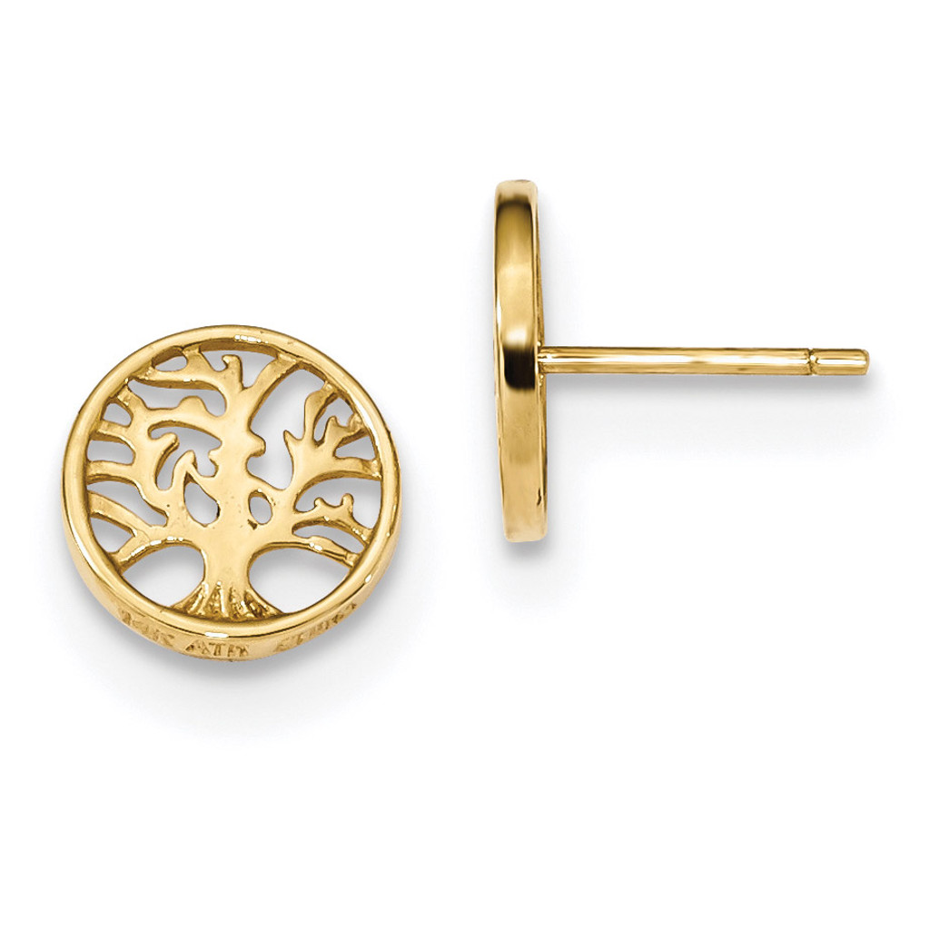 Round Tree Post Earrings 14k Gold MPN: YE1829