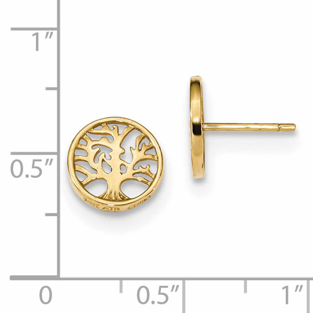 Round Tree Post Earrings 14k Gold YE1829