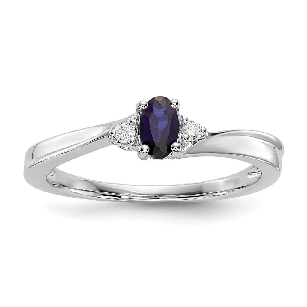 Created Blue Sapphire Birthstone Ring Sterling Silver Rhodium-plated MPN: QBR25SEP
