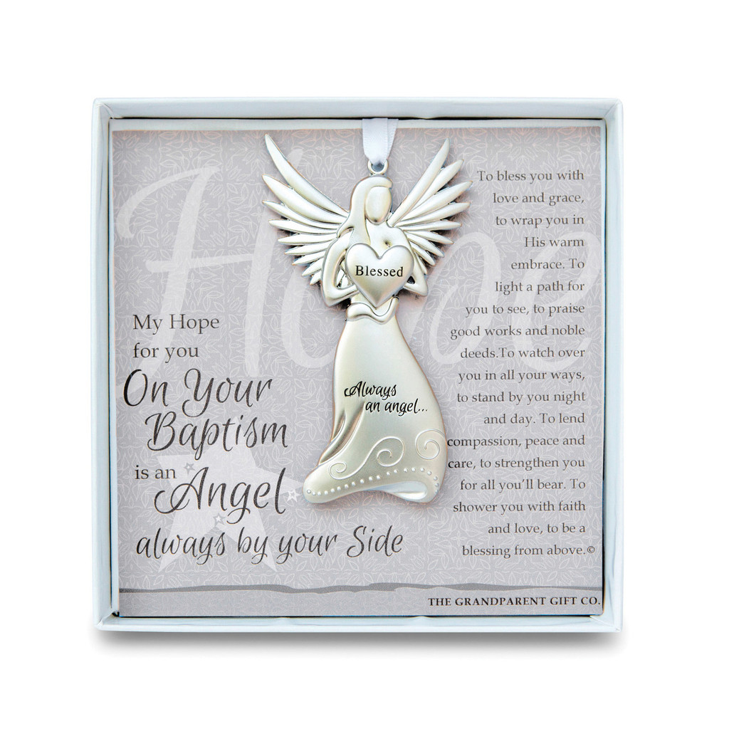 Baptism Christening Baby Metal Ornament: Baptism Angel Ornament With Sentiment GM14279
