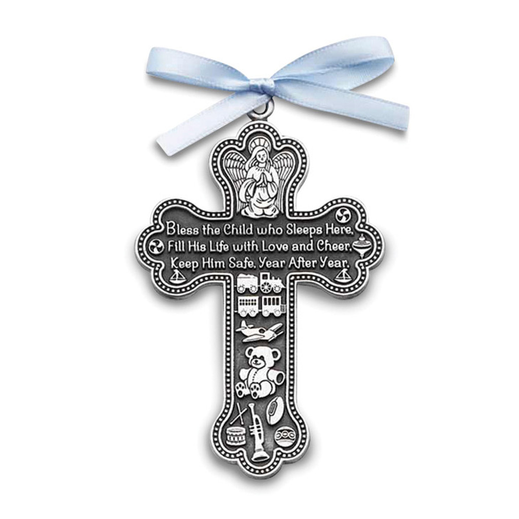Cross Ornament For Girl Or Boy: Baby Boy With Blue Ribbon Crib Cross Ornament Silver-tone