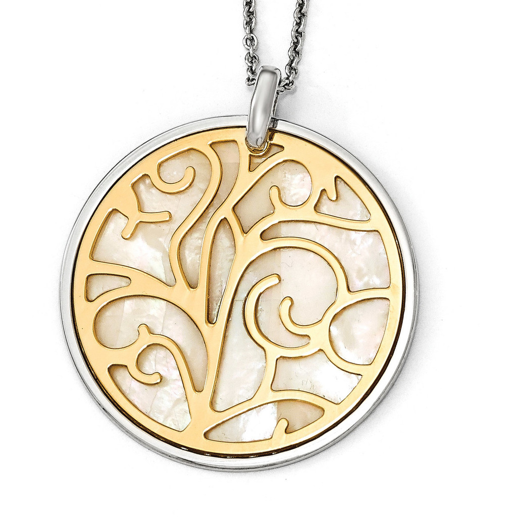Mother of Pearl with 2 inch Extender Necklace 16 Inch Sterling Silver Gold-tone by Leslie's Jewelry MPN: QLF579-16, UPC: 886774640655