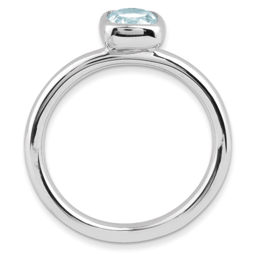 Cushion Cut Aquamarine Ring Sterling Silver QSK448