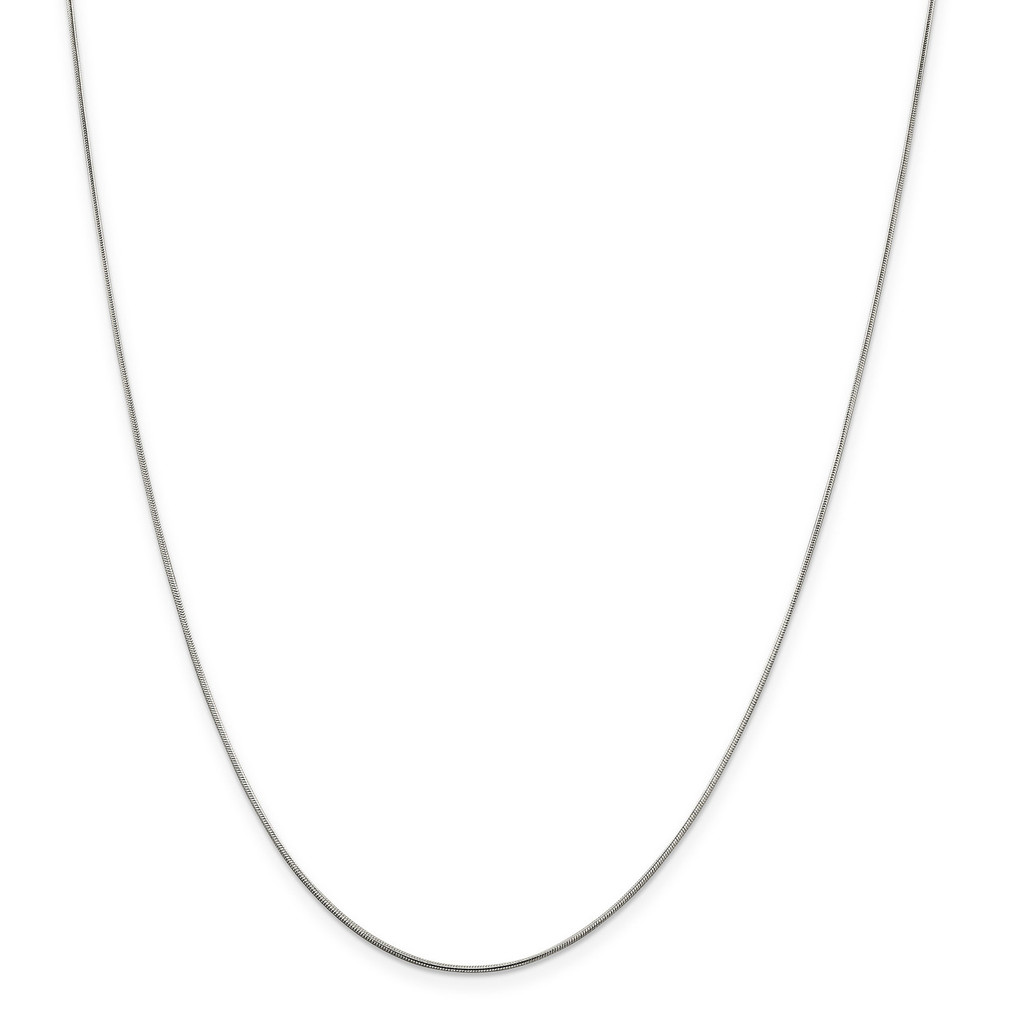 Rhodium-plated .8mm Rd Snake Chain 2 inch extender Necklace Sterling Silver MPN: QSN020RH UPC: 886774647012 by Stackable Expressions