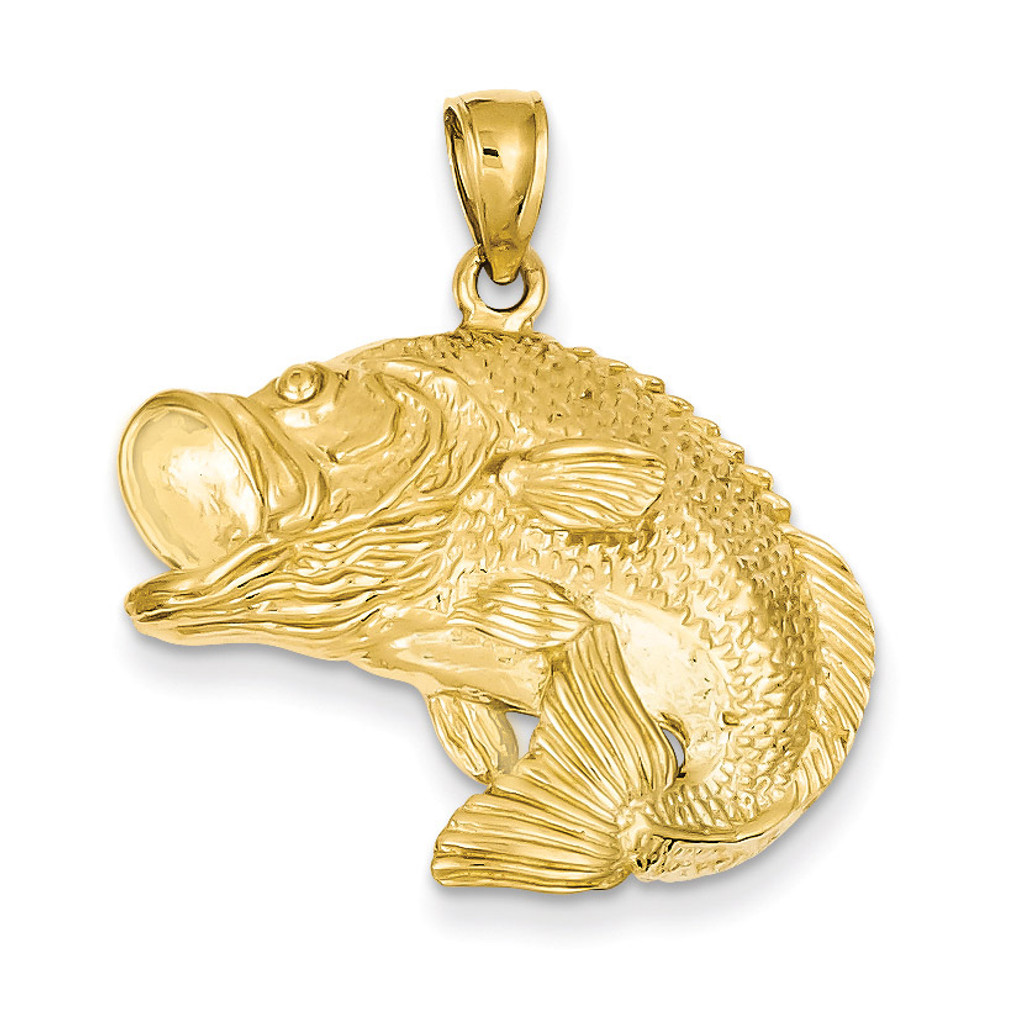 Bass fish jumping pendant 14k gold homebello for Gold fish pendant