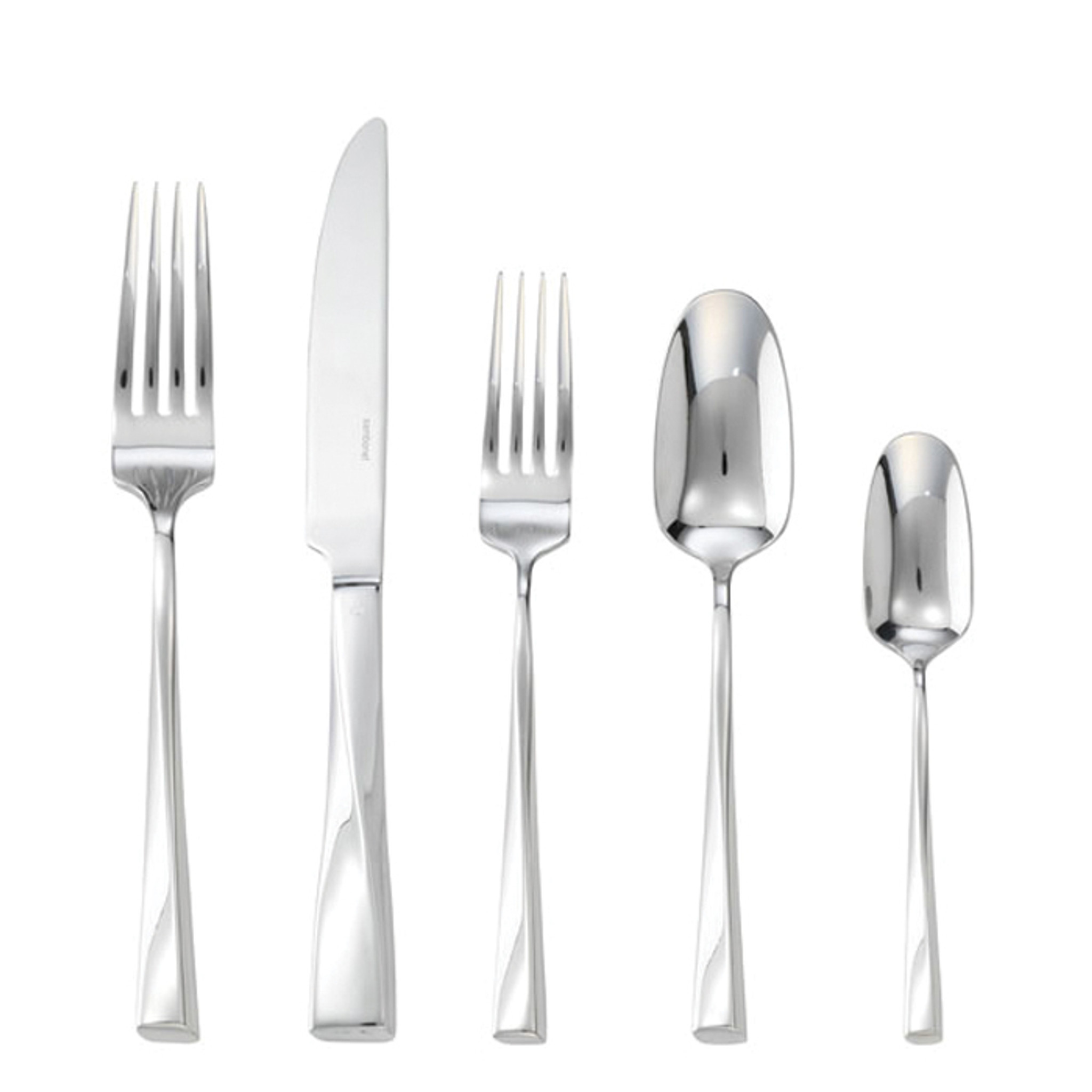 Sambonet twist 5 piece place setting solid handle silverplated on 18 10 stainless steel 52726 93 - Twisted silverware ...