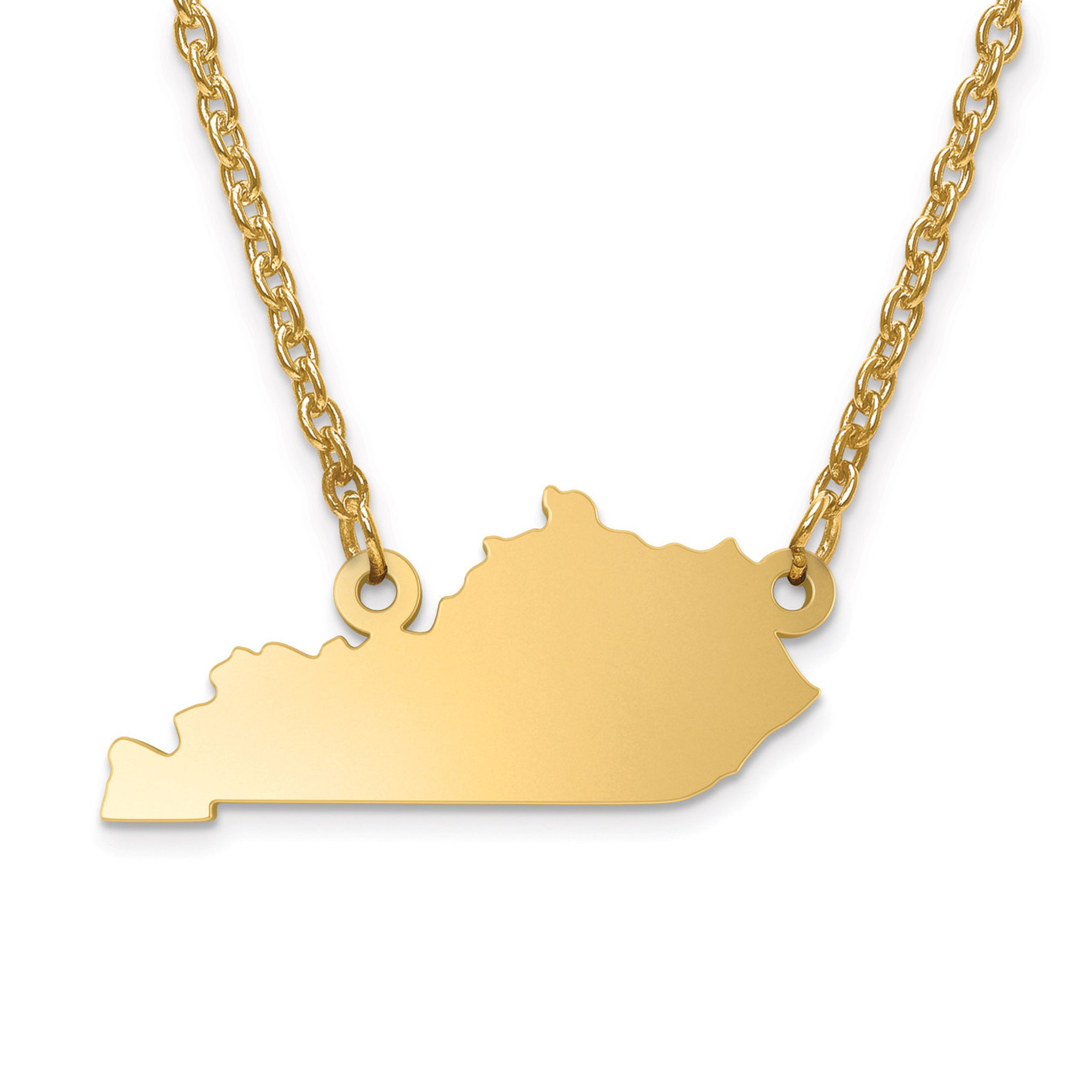 kentucky state pendant with chain engravable gold plated