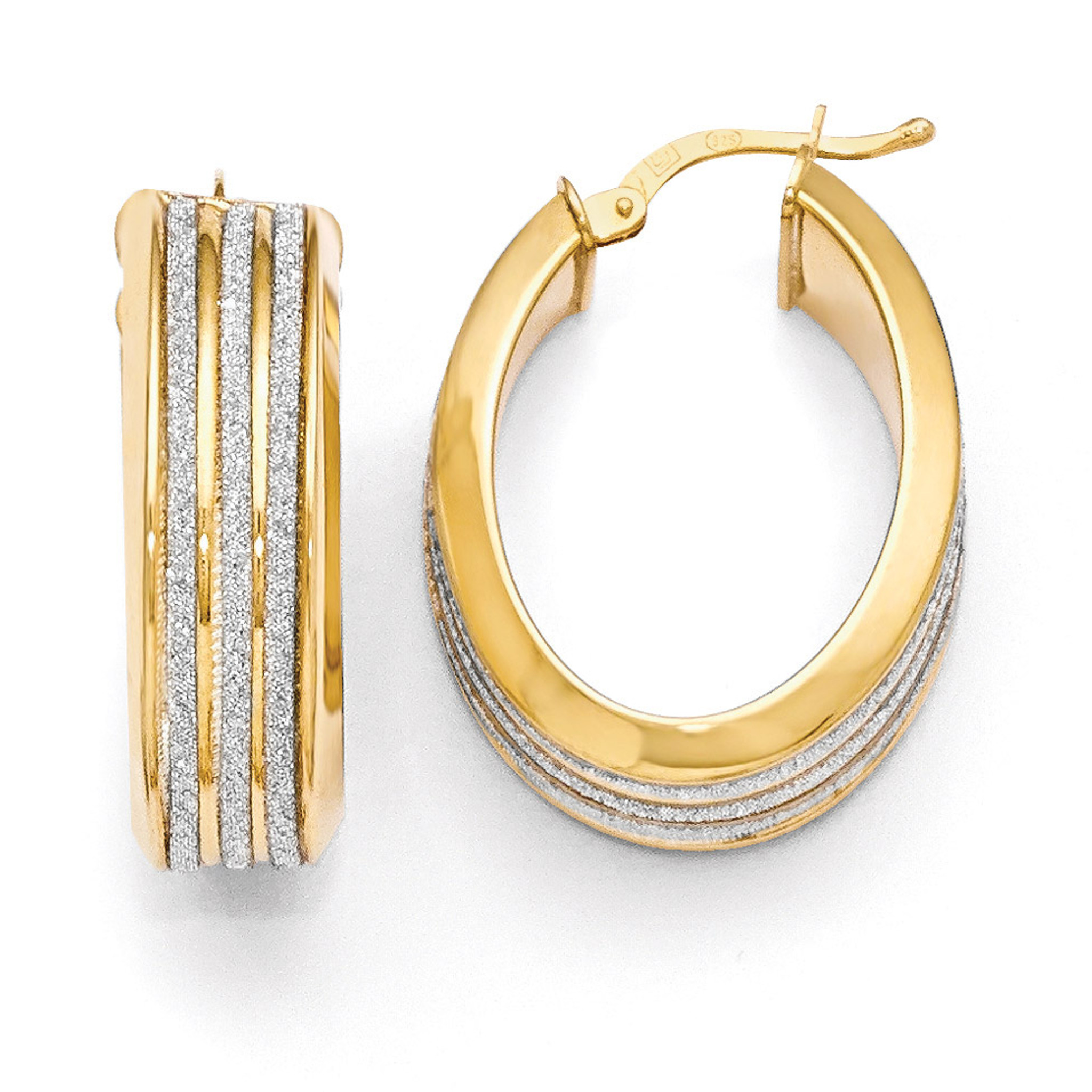 8dc63ab42a9cd Gold-plated Glimmer Infused Hoop Earrings Sterling Silver .