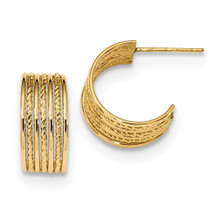 Textured Post Hoops Earrings 14k Gold Polished MPN: YE1822
