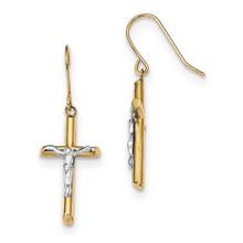 Rhodium Polished Crucifix Dangle Shepherd Hook Earrings 14k Gold MPN: YE1826