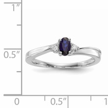 Created Blue Sapphire Birthstone Ring Sterling Silver Rhodium-plated QBR25SEP